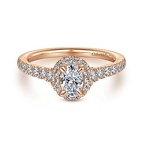 14K Rose Gold Oval Halo Complete Diamond Engagement Ring