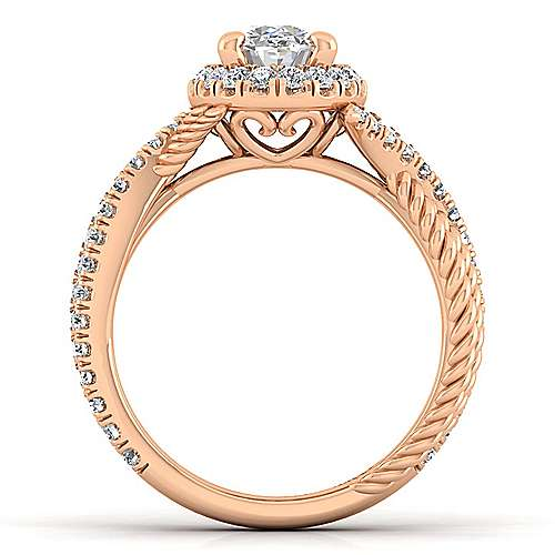 14K Rose Gold Oval Halo Diamond Engagement Ring