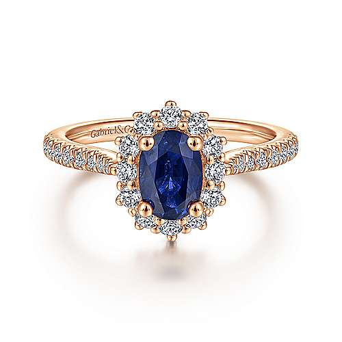 14K Rose Gold Oval Halo Diamond and Sapphire Engagement Ring