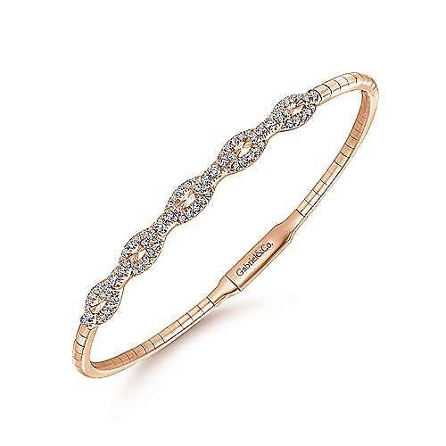 14K Rose Gold Oval Link Diamond Bangle