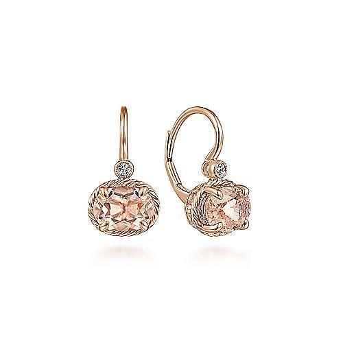 14K Rose Gold Oval Morganite and Diamond Drop Earrings
