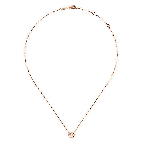 14K Rose Gold Oval Morganite and Diamond Halo Pendant Necklace