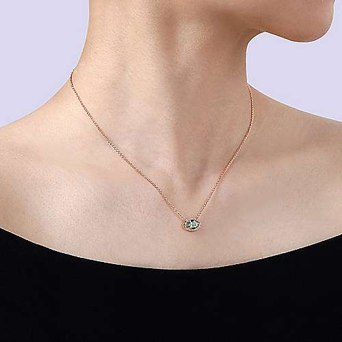 14K Rose Gold Oval Peridot and Diamond Halo Pendant Necklace