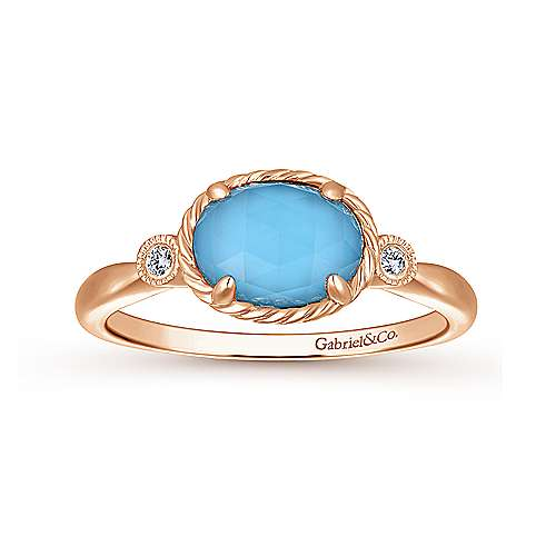 14K Rose Gold Oval Rock Crystal/Turquoise Diamond Ring