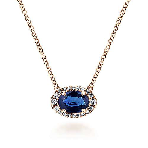 14K Rose Gold Oval Sapphire and Diamond Halo Pendant Necklace