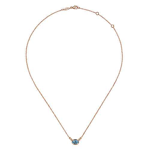 14K Rose Gold Oval Swiss Blue Topaz Pendant Necklace with Diamond Accents