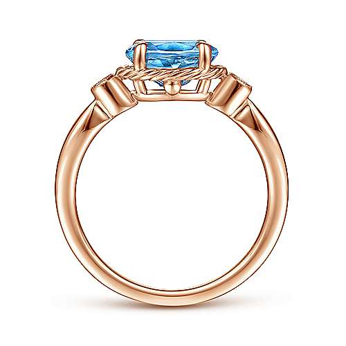 14K Rose Gold Oval Swiss Blue Topaz and Diamond Three Stone Ring
