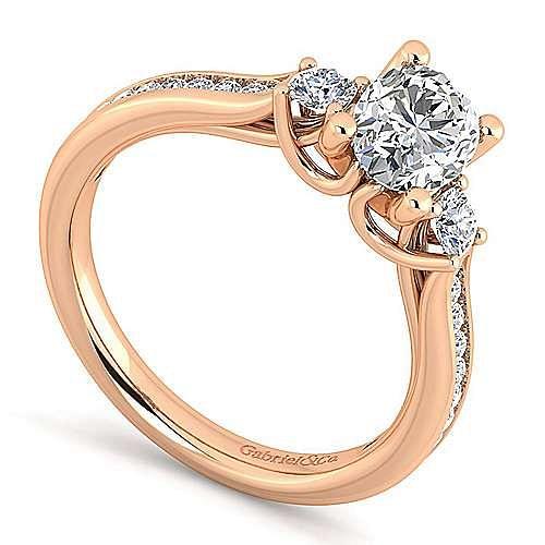 14K Rose Gold Oval Three Stone Diamond Engagement Ring
