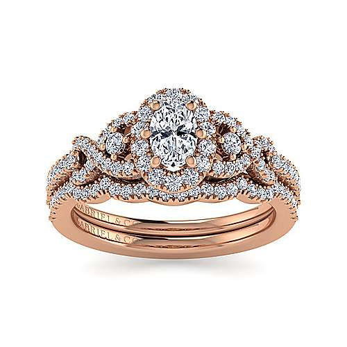14K Rose Gold Oval Three Stone Halo Diamond Engagement Ring