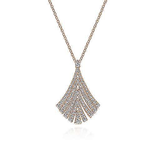 14K Rose Gold Pavé Diamond Fan Pendant Necklace
