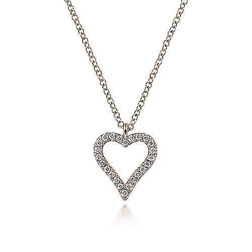14K Rose Gold Pavé Diamond Open Heart Necklace