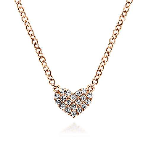 14K Rose Gold Pavé Diamond Pendant Heart Necklace