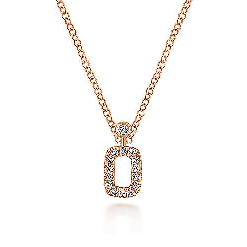14K Rose Gold Pavé Diamond Rectangle Pendant Necklace