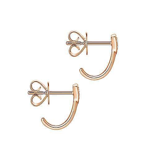 14K Rose Gold Pavé Diamond Triangle J Back Stud Earrings