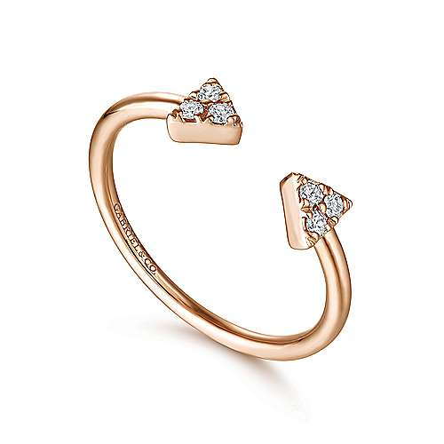 14K Rose Gold Pavé Diamond Triangle Split Ring