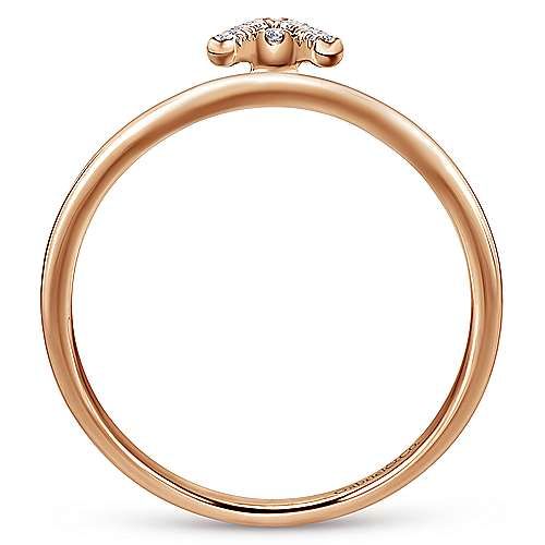 14K Rose Gold Pavé Diamond Uppercase A Initial Ring