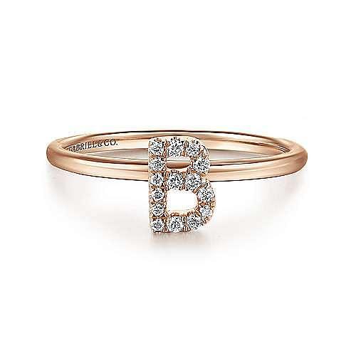 14K Rose Gold Pavé Diamond Uppercase B Initial Ring
