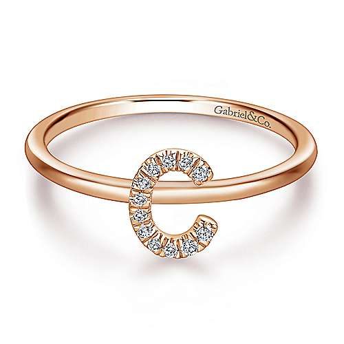 14K Rose Gold Pavé Diamond Uppercase C Initial Ring