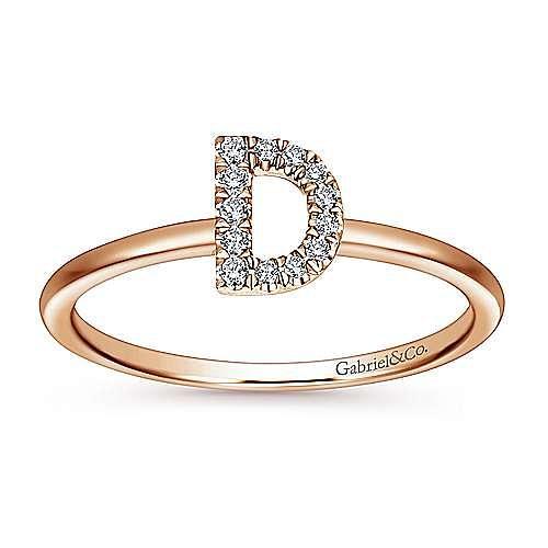 14K Rose Gold Pavé Diamond Uppercase D Initial Ring