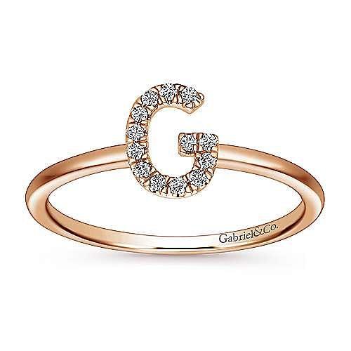 14K Rose Gold Pavé Diamond Uppercase G Initial Ring