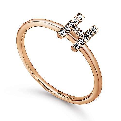 14K Rose Gold Pavé Diamond Uppercase H Initial Ring