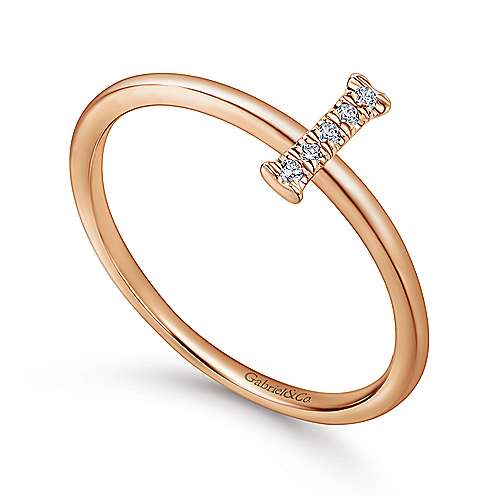 14K Rose Gold Pavé Diamond Uppercase I Initial Ring