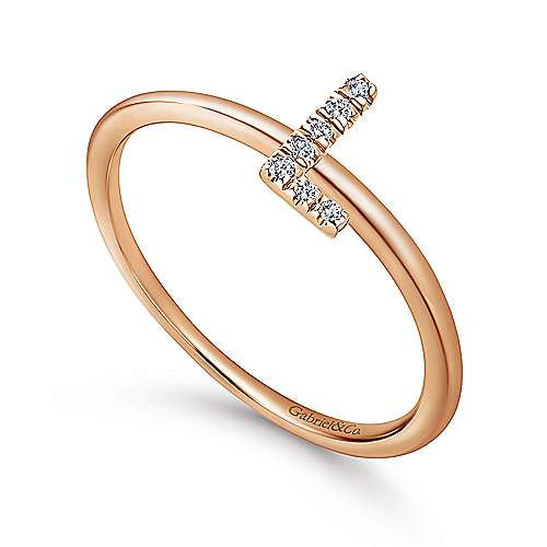 14K Rose Gold Pavé Diamond Uppercase L Initial Ring