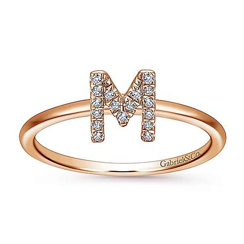 14K Rose Gold Pavé Diamond Uppercase M Initial Ring