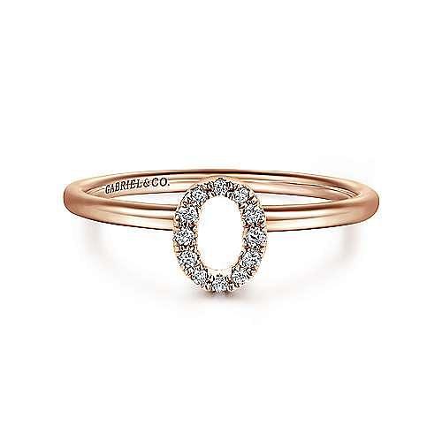 14K Rose Gold Pavé Diamond Uppercase O Initial Ring