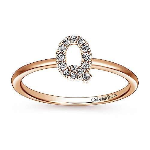 14K Rose Gold Pavé Diamond Uppercase Q Initial Ring
