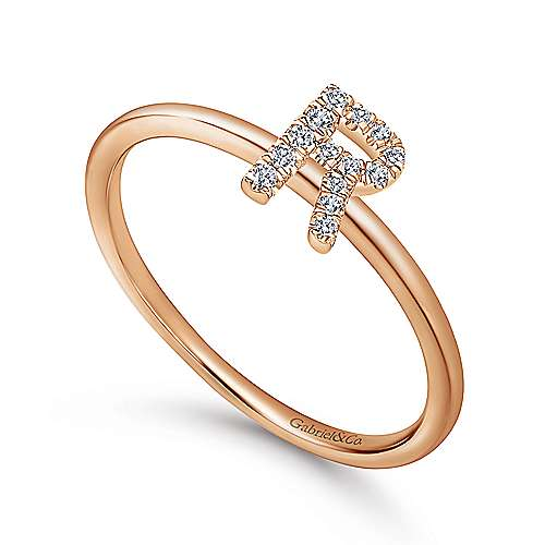 14K Rose Gold Pavé Diamond Uppercase R Initial Ring