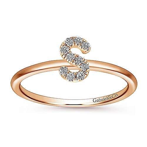 14K Rose Gold Pavé Diamond Uppercase S Initial Ring