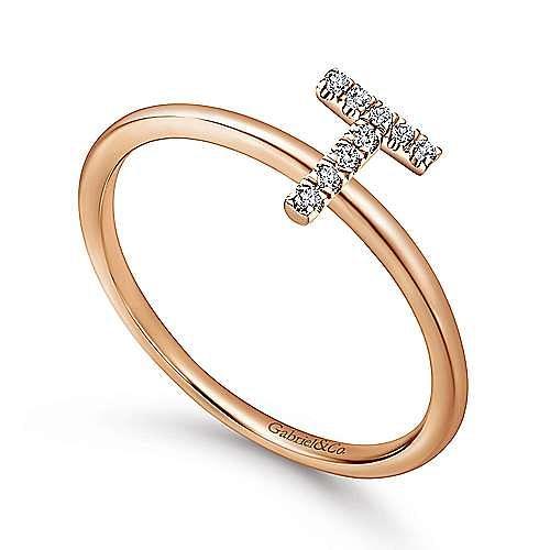 14K Rose Gold Pavé Diamond Uppercase T Initial Ring