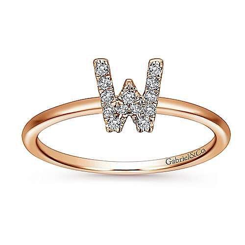 14K Rose Gold Pavé Diamond Uppercase W Initial Ring