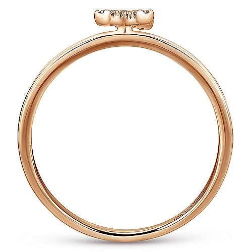 14K Rose Gold Pavé Diamond Uppercase X Initial Ring