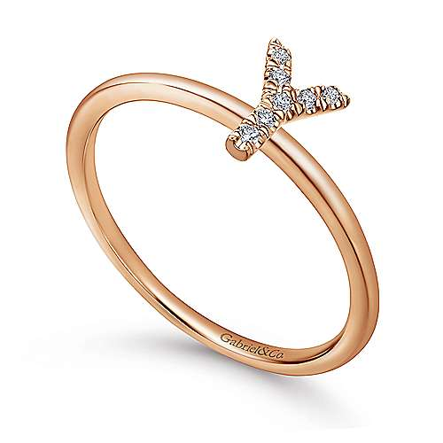 14K Rose Gold Pavé Diamond Uppercase Y Initial Ring