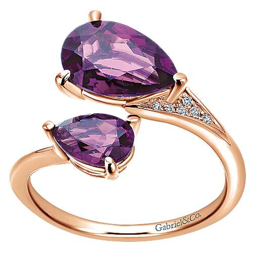 14K Rose Gold Pear Shape Amethyst Split Ring with Diamond Accents
