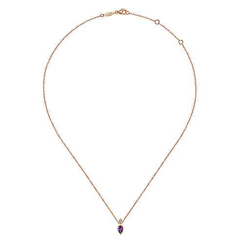 14K Rose Gold Pear Shape Amethyst with Diamond Accents Pendant Necklace