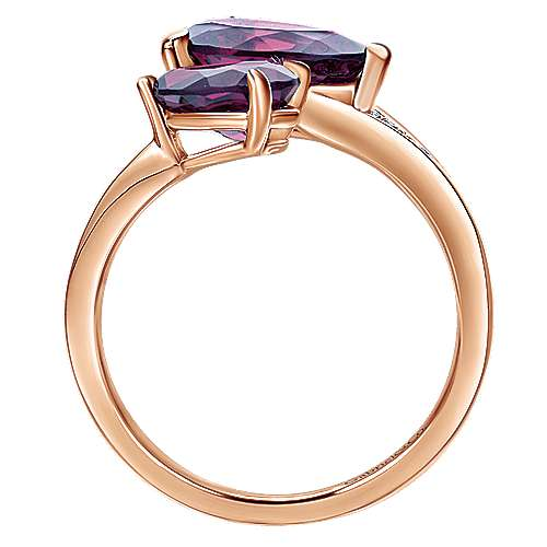 14K Rose Gold Pear Shape Amethysts Open Ladies Ring