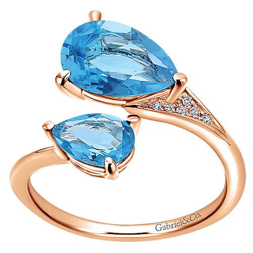 14K Rose Gold Pear Shape Blue Topaz Split Ring with Diamond Accents