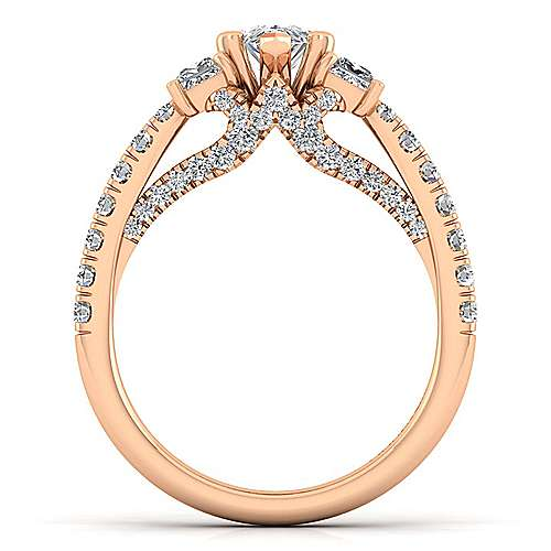 14K Rose Gold Pear Shape Diamond Engagement Ring