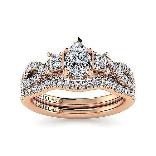 14K Rose Gold Pear Shape Diamond Engagement Ring