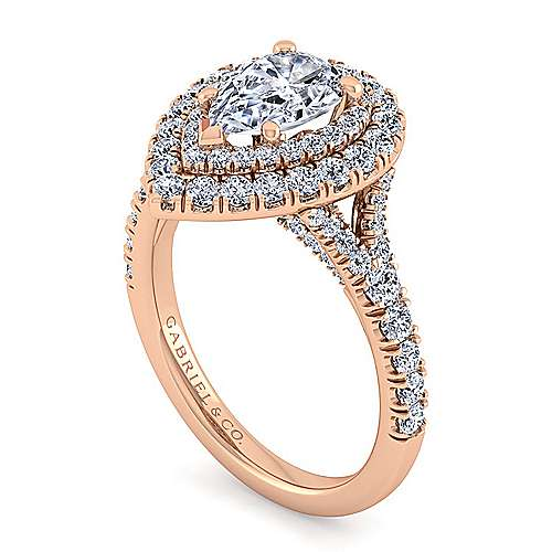 14K Rose Gold Pear Shape Double Halo Diamond Engagement Ring