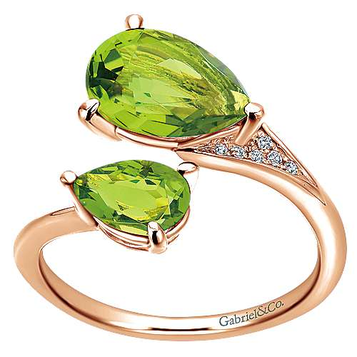14K Rose Gold Pear Shape Peridot Split Ring with Diamond Accents
