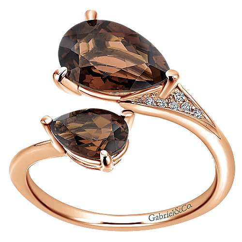 14K Rose Gold Pear Shape Smoky Quartz Split Ring with Diamond Accents