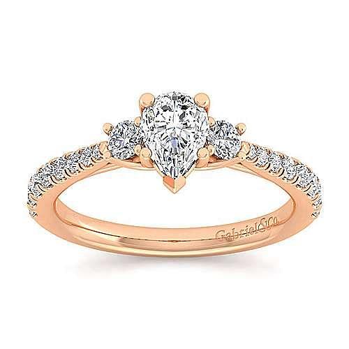14K Rose Gold Pear Shape Three Stone Diamond Engagement Ring