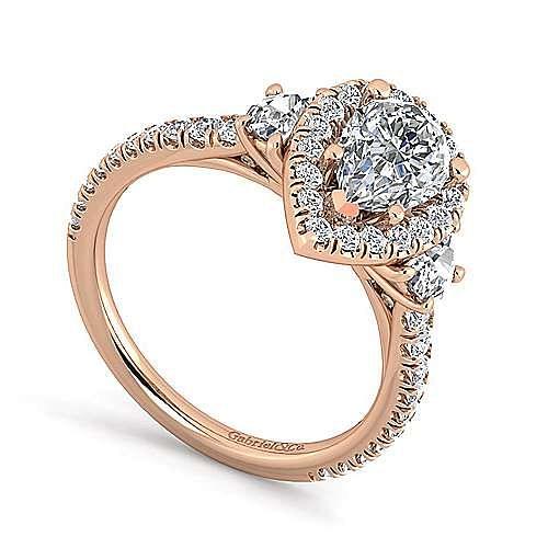 14K Rose Gold Pear Shape Three Stone Halo Diamond Engagement Ring