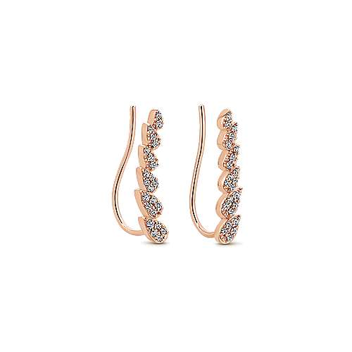 14K Rose Gold Pear Shaped Diamond Column Ear Climber Earrings