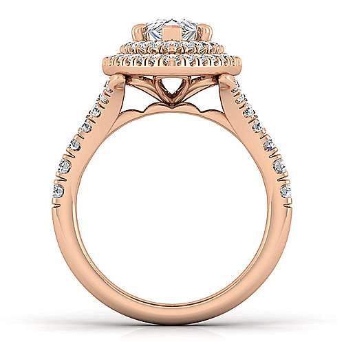 14K Rose Gold Pear Shaped Double Halo Diamond Engagement Ring