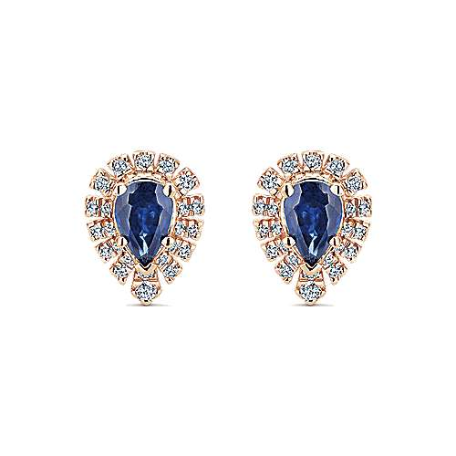 14K Rose Gold Pear Shaped Halo Diamond and Sapphire Stud Earringss